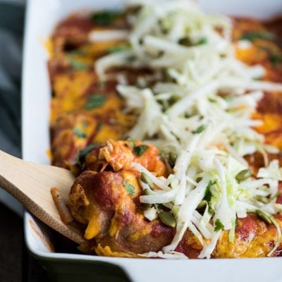Ground Beef Enchiladas with Lime Jicama Slaw