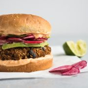 Sweet Potato Black Bean Burger with Chili Lime Mayo made with quinoa, sweet potatoes and black beans. No eggs required! (gluten free, vegetarian, vegan)