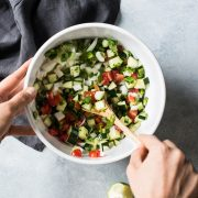 This Fresh Cucumber Salsa is quick and easy to make! Ready in only 15 minutes, this healthy salsa is the perfect topping for tacos, enchiladas and grilled meats.