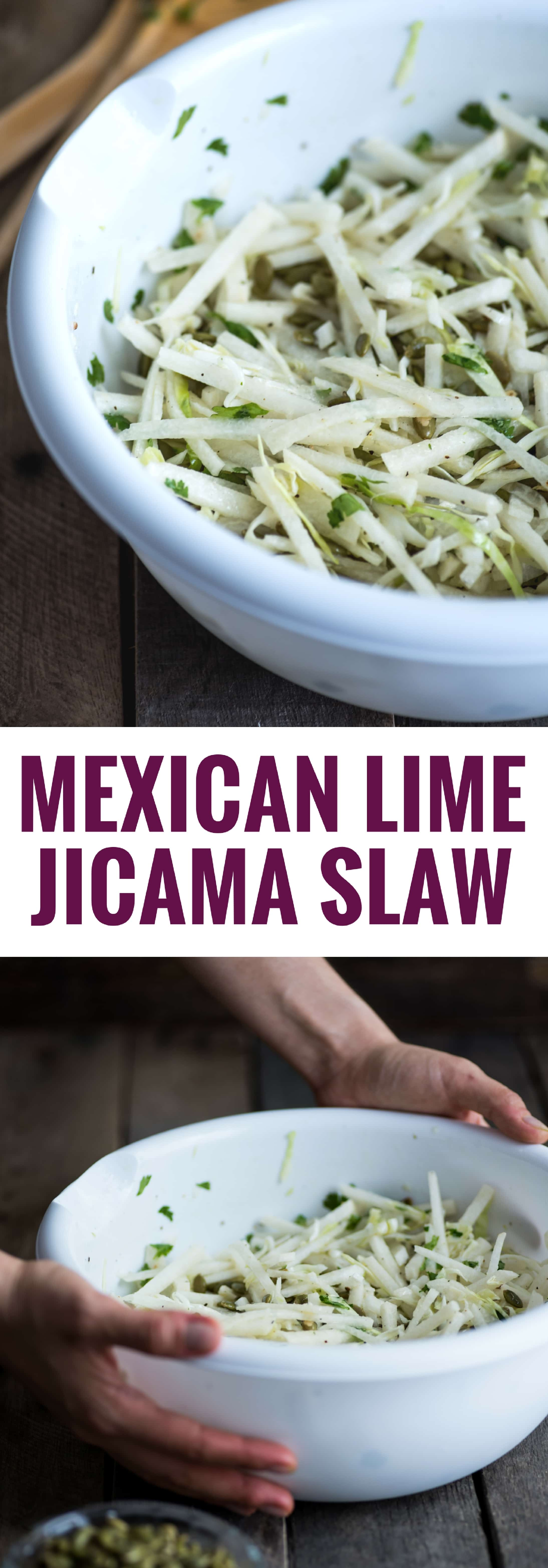 A refreshing and crunchy Mexican Lime Jicama Slaw perfect for the spring and summer months!