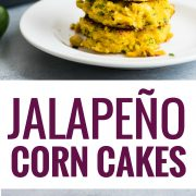 Quick and easy Jalapeno Corn Cakes that are gluten free and vegetarian. The perfect Mexican side dish!