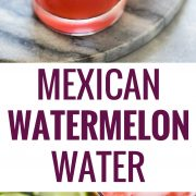 This Watermelon Agua Fresca (also known as Agua de Sandia) is a light and refreshing summer drink made with only 3 ingredients - watermelon, water and a touch of sugar! #aguafresca #mexican #watermelon