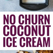 This No Churn Coconut Ice Cream is smooth, creamy and made with only 2 ingredients! Served with ponche roasted pineapples, it's perfect for hot summer days.
