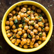 These Cilantro Lime Roasted Chickpeas are a healthy and addicting salty snack with plenty of crunch to satisfy your snack cravings! (gluten free, vegan)