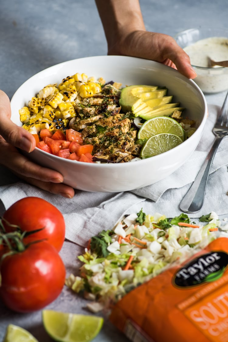 A bright, fresh Mexican Chimichurri Chicken Salad featuring grilled corn, summer tomatoes, marinated and grilled chimichurri chicken and creamy avocados. (gluten free)