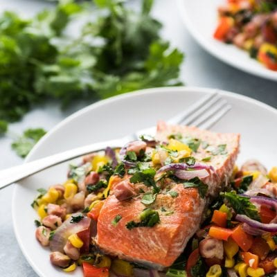 Roasted Adobo Salmon with Rainbow Vegetable Stir Fry