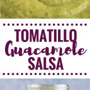 This Tomatillo Guacamole Salsa combines salsa verde and guacamole to create an addicting appetizer and salsa! Is gluten free, dairy free, paleo and vegan.