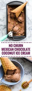 This No Churn Mexican Chocolate Coconut Ice Cream is made with cocoa powder, cinnamon and sea salt for an easy decadent end of summer dessert!