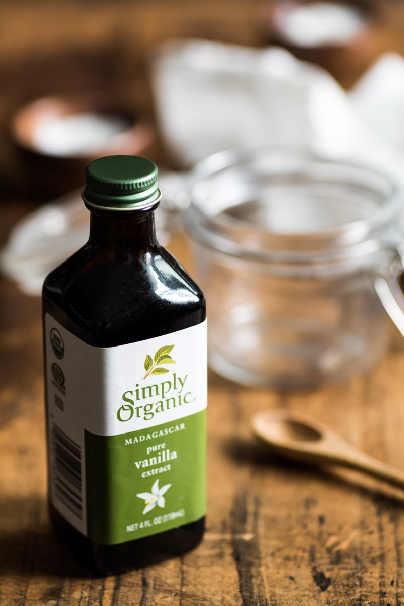 Simply Organic pure vanilla extract in a glass bottle. Used in a Authentic Homemade Dulce de Leche recipe. // isabeleats.com