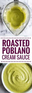 A Mexican favorite, this Easy Roasted Poblano Cream Sauce is loaded with flavor and goes well on tacos, burritos, enchiladas and more! (gluten free)