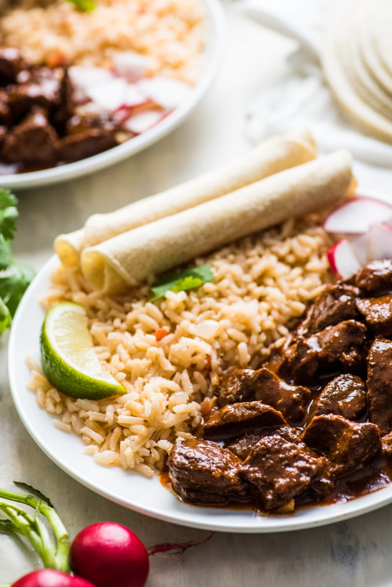 This Chile Colorado recipe combines tender pieces of beef with a rich and flavorful red chile sauce. Serve with rice for an authentic Mexican dinner!