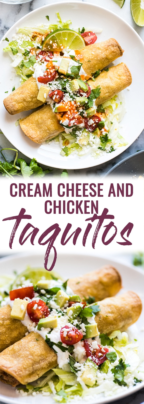 Thesebaked Chicken Taquitos are stuffed with seasoned shredded chicken, cream cheese, diced green chiles, black beans and corn. Perfect for any weeknight meal! (freezer friendly, gluten free) #mexican #taquitos #tacos