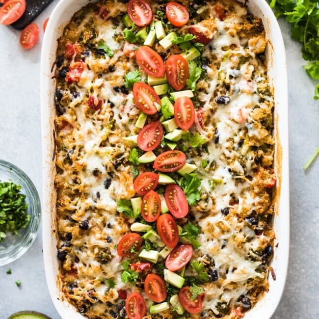 A Broccoli Quinoa Enchilada Casserole that's healthy, easy to make and filled with lots of veggies! (vegetarian, gluten free)