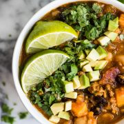 Chipotle Pumpkin Turkey Chili recipe made with pumpkin, sweet potatoes, beans and chipotle peppers for a healthy fall meal! (freezer friendly, gluten free)