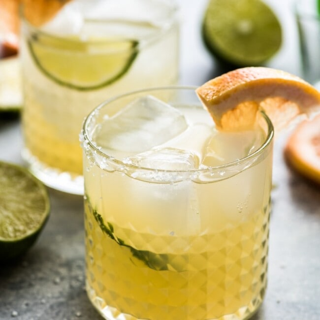 This Mexican Paloma Cocktail is a light and refreshing drink featuring tequila, grapefruit and lime. It's easy to make and is great year round!