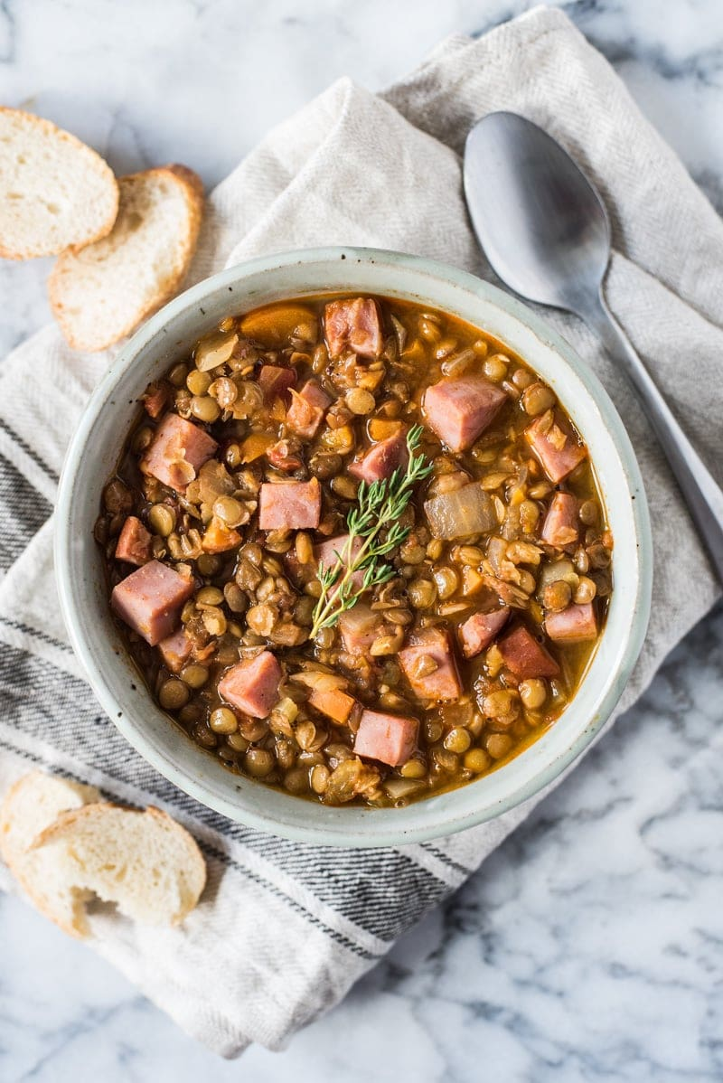 Spicy lentil soup in a bowl