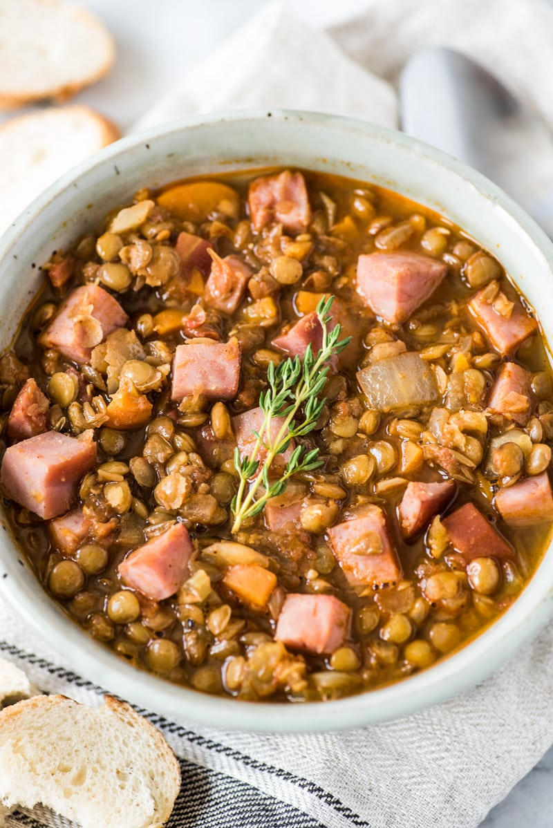 This Spicy Lentil Soup recipe made with ham is comforting, hearty and full of good-for-you ingredients that will keep you full until your next meal. (freezer friendly, gluten free) | meal prep | meal planning | lentils | leftover ham | diet friendly