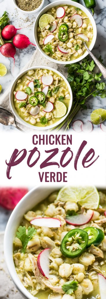 Chicken Pozole Verde is a comforting Mexican soup filled with shredded chicken and hominy in a comforting green chile broth. (gluten free, freezer friendly)