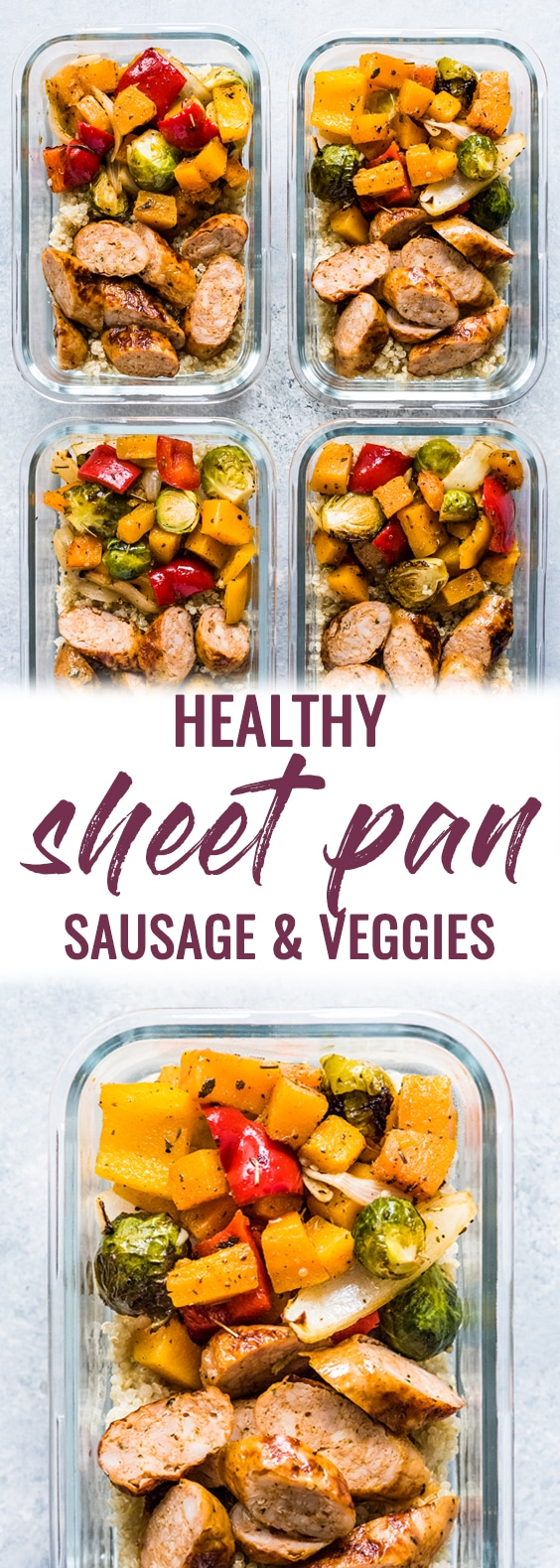 This Healthy Sheet Pan Sausage and Veggies recipe is easy, delicious and perfect for meal prep. It's gluten free, dairy free and paleo and Whole30.
