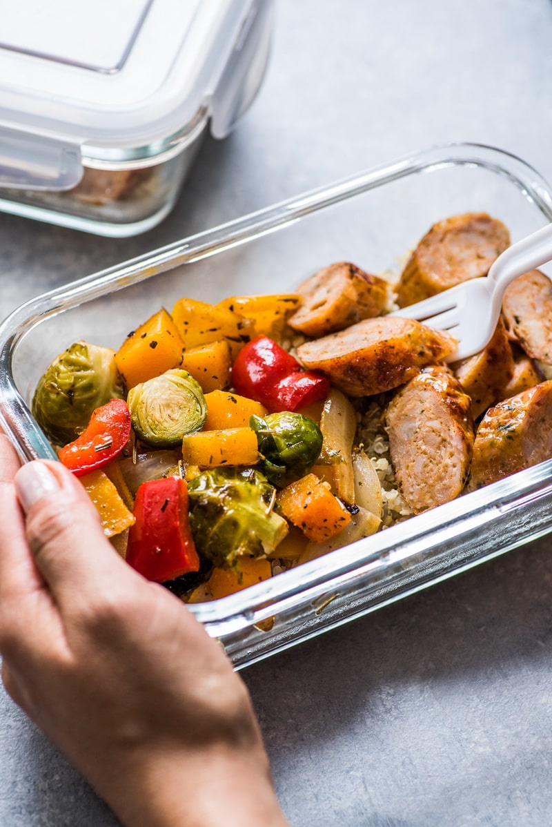 This Healthy Sheet Pan Sausage and Veggies recipe is easy, delicious and perfect for meal prep. It's gluten free, dairy free, paleo and Whole30.
