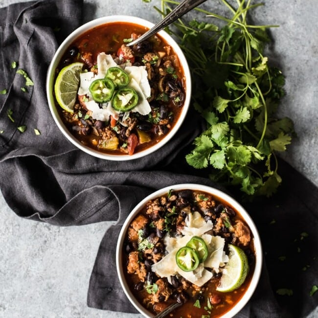 This Mexican Chorizo Chili is a warm and comforting one-pot meal perfect for the fall and winter months! (freezer friendly, gluten free)