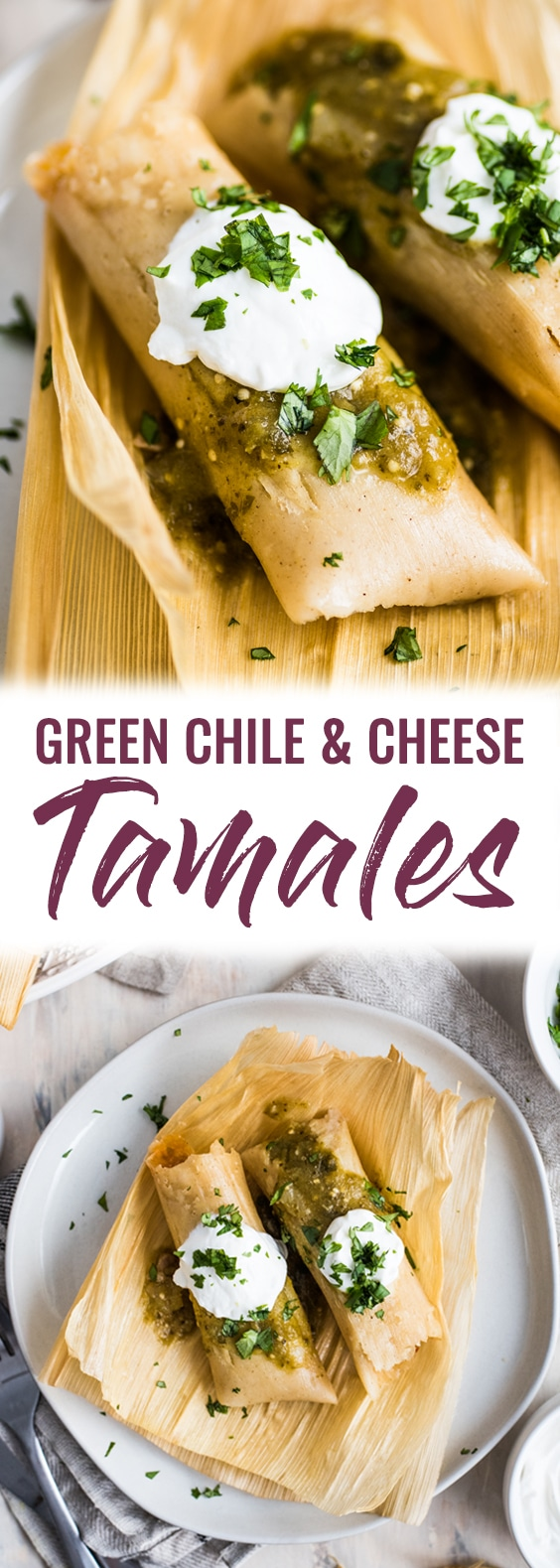 A Mexican classic, these Green Chile and Cheese Vegetarian Tamales are filled with roasted poblano peppers and spicy pepper jack cheese. Also gluten free!