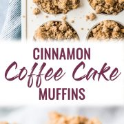 These cinnamon coffee cake muffins topped with a crunchy streusel topping are made with Greek yogurt for a healthier homemade treat!