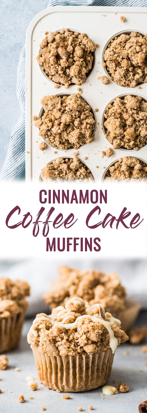 These cinnamon coffee cake muffins topped with a crunchy streusel topping are made with Greek yogurt for a healthier homemade treat! #coffeecake