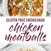 Gluten free chicken meatballs covered in a red enchilada sauce
