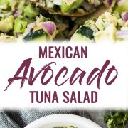 This Avocado Tuna Salad combines healthy fat from avocados and lean protein from tuna for a quick and easy mayo-free lunch or snack! It's also gluten free, low carb and paleo. Ready in only 10 minutes!