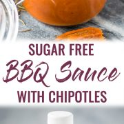 This homemade Sugar Free BBQ Sauce is made with chipotle peppers, caramelized onions and a blend of spices that's healthy, wholesome and insanely addicting! It's gluten free, dairy free, paleo, vegetarian and vegan. #bbqsauce #barbecue #sugarfree #bbq