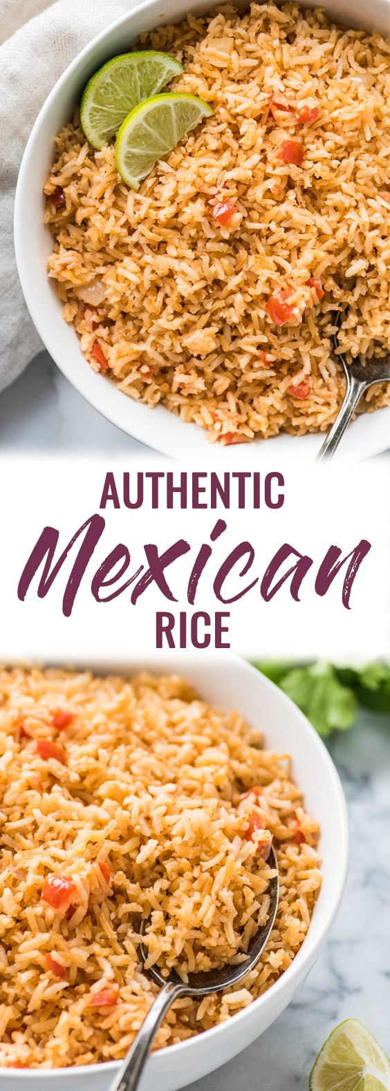 My Mom's Authentic Mexican Rice Recipe is made with simple ingredients like chopped tomatoes, onions and garlic and is the perfect side dish for any meal. #mexicanrice #rice #mexicanfood #vegetarian