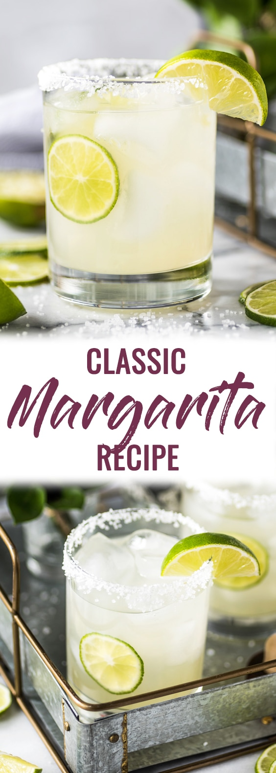 This Classic Margarita Recipe is perfectly balanced with tequila, triple sec and lime juice for a crisp and refreshing cocktail. No margarita mix required!