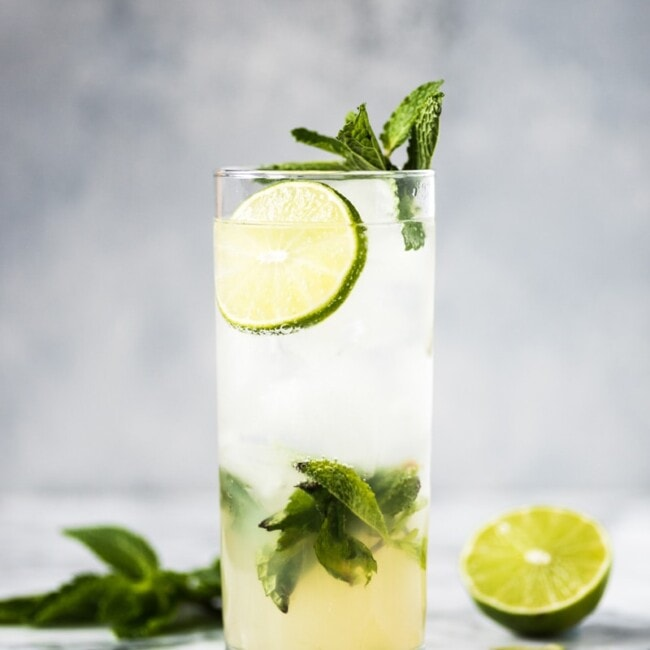 side shot of a mojito in a glass