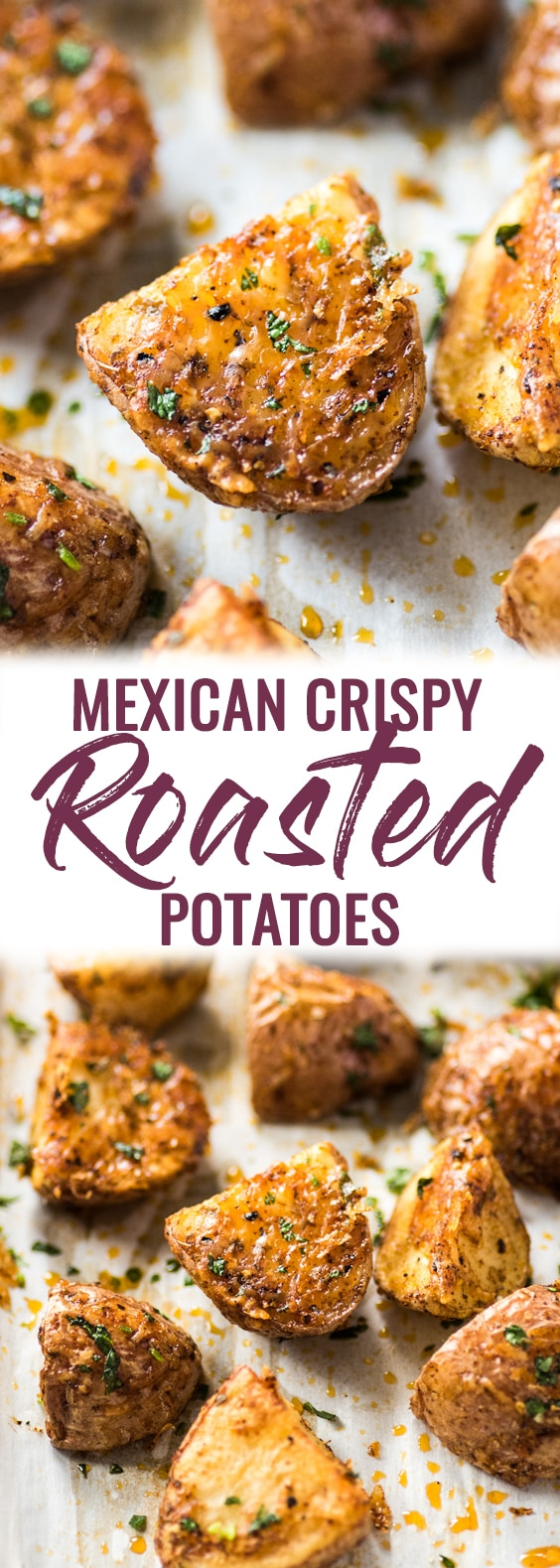 These Mexican Crispy Roasted Potatoes seasoned with chili powder, garlic, sea salt and Parmesan cheese are baked, not fried and are the perfect side to weekday meals. (gluten free, vegetarian)