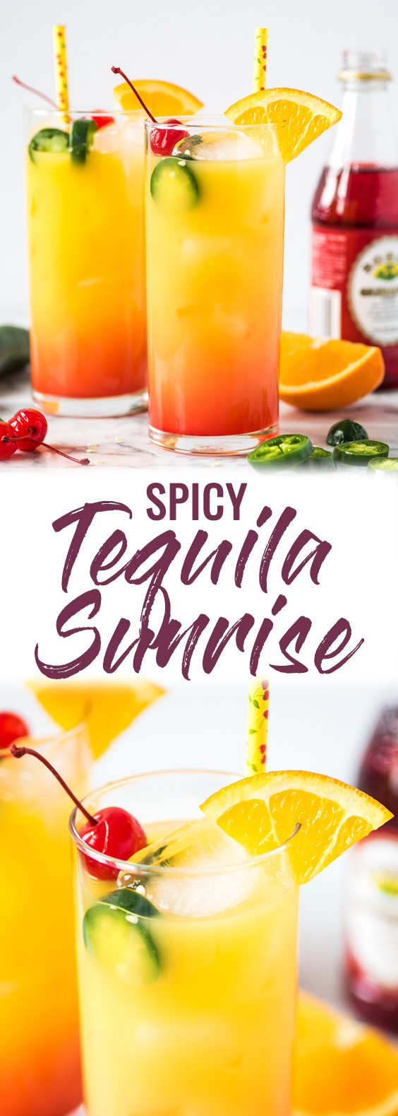 This Spicy Tequila Sunrise is made with orange juice, tequila, jalapeños and grenadine. It's the perfect cocktail for brunch or any celebration! #tequila #cocktail #brunch