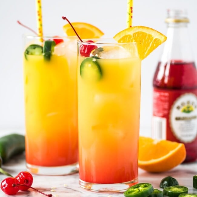 Tequila Sunrise made from tequila, orange juice and grenadine syrup.