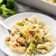 This low carb and cheesy Broccoli Cauliflower Rice Chicken Casserole recipe is perfect for dinner and makes great leftovers. It's also gluten free!