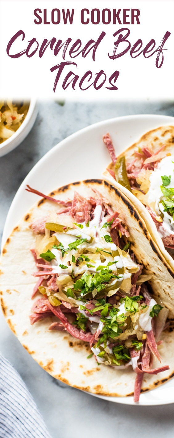 This Slow Cooker Corned Beef Tacos recipe is perfect for celebrating St. Patrick's Day or any day of the week! #slowcooker #cornedbeef #stpatricksday | crock pot | st. patty's days | easy recipe