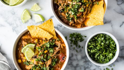 This easy Chicken Tortilla Soup recipe has the perfect amount of spice alongside a healthy serving of vegetables. (gluten free, low carb)
