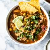 This Mexican Chicken Tortilla Soup has the perfect amount of spice alongside a healthy serving of vegetables, all in a warm, comforting broth. (gluten free, low carb, freezer friendly)