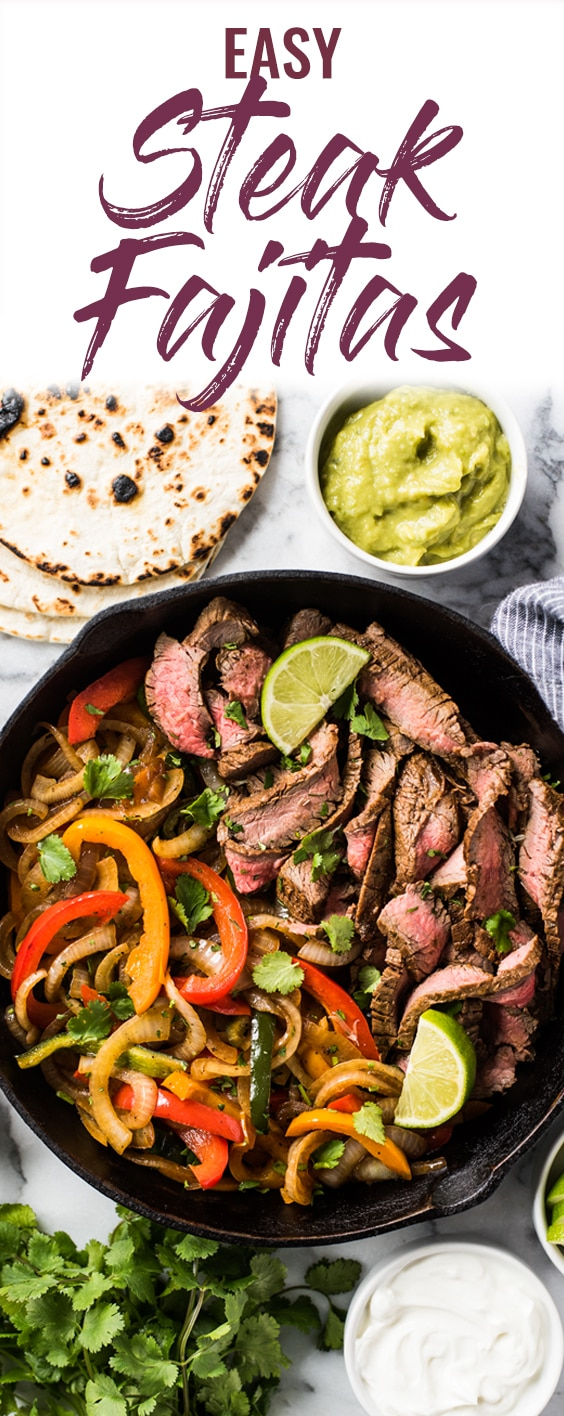 These Easy Steak Fajitas are juicy, tender, flavorful and way better than the ones at your favorite Mexican restaurant! Served with a healthy dose of peppers and onions, these fajitas are gluten free and low carb. #steakfajitas #cincodemayo #fajitas #mexican
