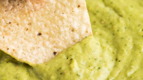 Guacamole salsa with a tortilla chip.