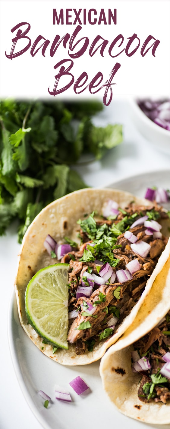 This Mexican Barbacoa Chipotle Recipe is made in the slow cooker or Instant Pot for easy and flavorful shredded beef that can be served in tacos, salads, burritos and more! (gluten free, low carb, paleo)