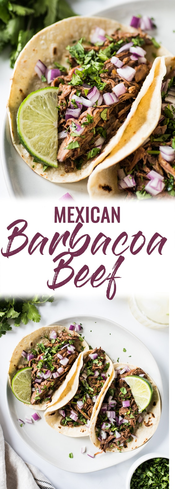 This Mexican Barbacoa Recipe is made in the slow cooker or Instant Pot for easy and flavorful shredded beef that can be served in tacos, salads, burritos and more! (gluten free, low carb, paleo) #barbacoa #cincodemayo #mexican