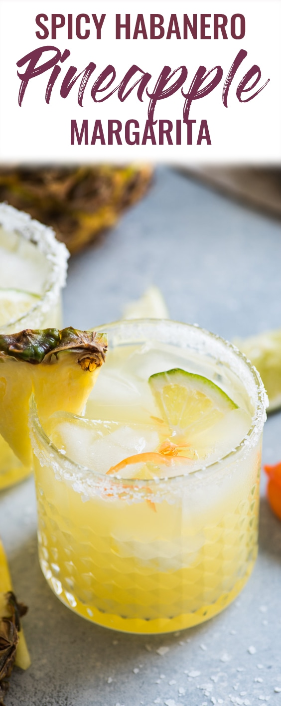 This pineapple margarita is made with sweet pineapple juice and a fresh habanero pepper for a spicy twist on a refreshing cocktail! #margarita #cocktail #mexican #cincodemayo #tequila