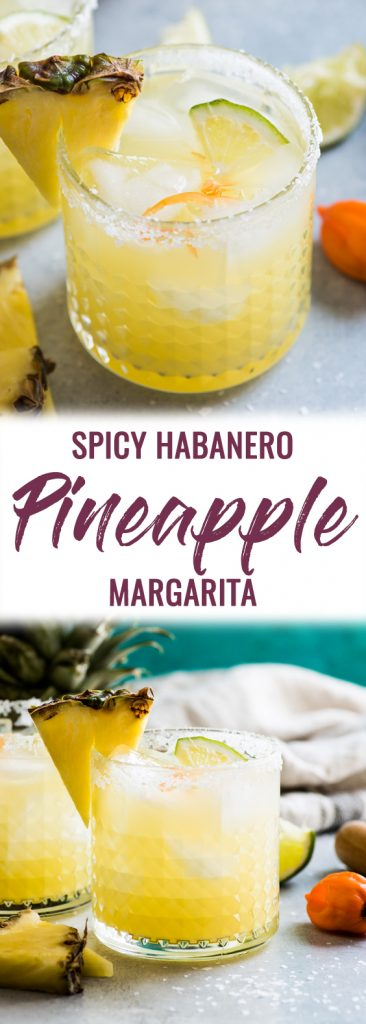 This pineapple margarita is made with sweet pineapple juice and a fresh habanero pepper for a spicy twist on a refreshing cocktail!