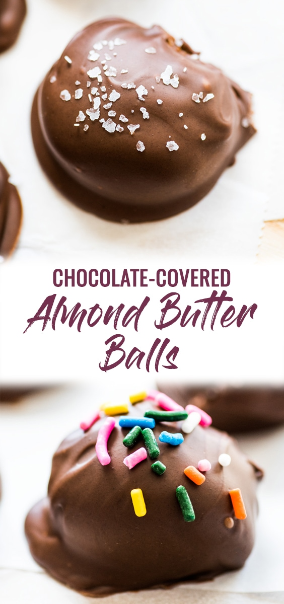 These chocolate covered almond butter balls are made with only 3 ingredients and are the perfect healthy dessert! All you need is almond butter, coconut flour and chocolate chips! (gluten free, paleo, vegetarian, vegan) #healthydessert #paleo #glutenfree | no bake almond butter bites | energy balls | energy bites | refined sugar free | diet friendly dessert