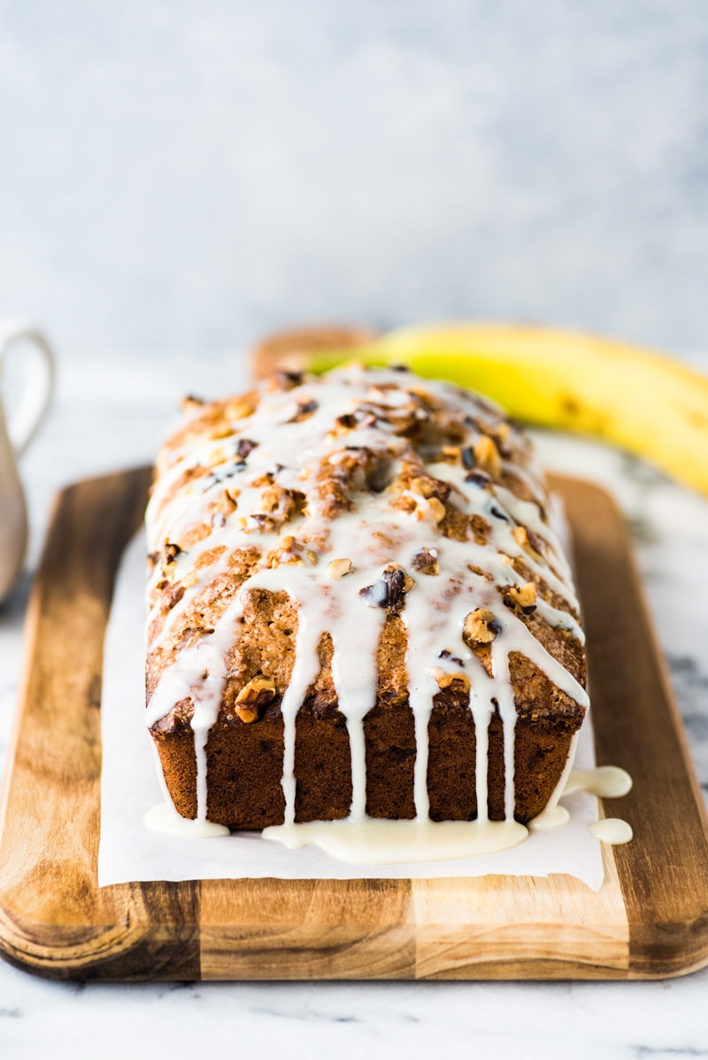 Banana nut bread with glaze on top