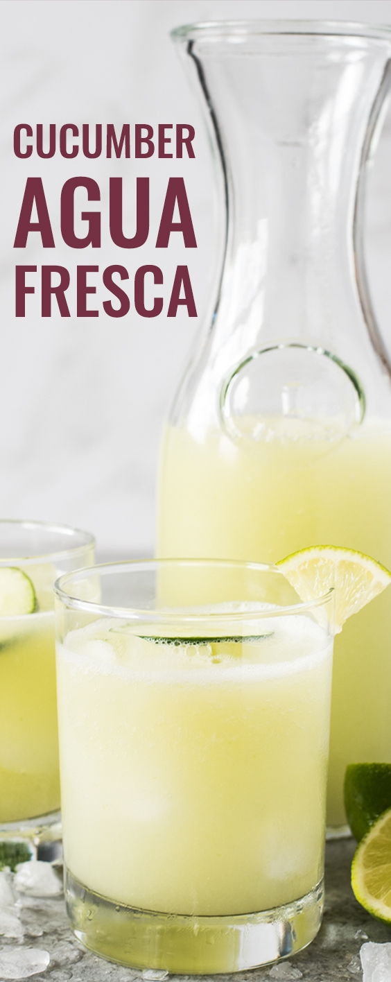 Cucumber Agua Fresca (also called Agua de Pepino) is made with refreshing cucumber, a spritz of lime juice, a touch of sugar and ice cold water. Perfect on a hot summer day! It's also gluten free, vegetarian, paleo and vegan. #aguafresca #mexican #vegetarian